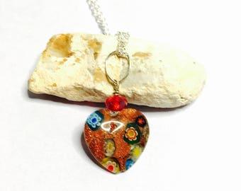 Vintage Glass heart pendant/Necklace  Silver/Silver plated, Red Swarovski, boho design, item No S783