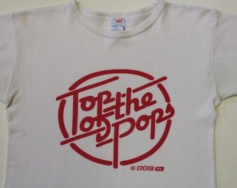 Vintage Top of the Pops t-shirt -Pop Music TV- BBC television - official show retro tee tshirt 1980s-Small-unisex thin retro white cotton