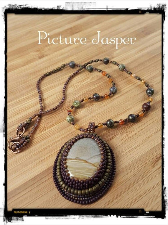 Picture Jasper Necklace, Classic Picture Jasper Pendant, Foxxy Jewelry from CynthiaFoxDesign