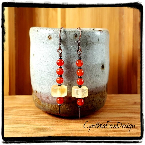 Citrine and Carnelian Earrings, Yellow and Orange Stone Earrings, Foxxy Jewelry by CynthiaFoxDesign
