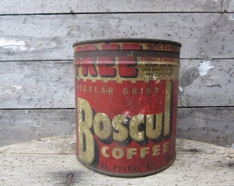 Vintage Tin Coffee Can BOSCUL Coffee Red White Aged Kitchen Metal Tin Storage Display Country Farm Retro Kitchen Rustic Primitive Vtg Old