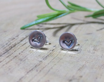 Tiny heart stud earrings / tiny sterling silver stud earrings / rustic silver earrings