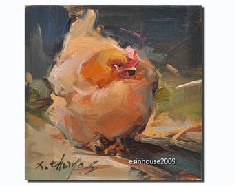 Western hen portrait chicken Original oil Painting  on canvas panel 15CMX15CM