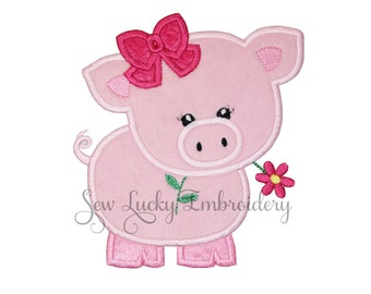 Ms. Pig Applique Embroidered Patch , Sew or Iron on