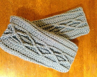 Denim Blue Cable Fingerless Gloves - Ready to Ship