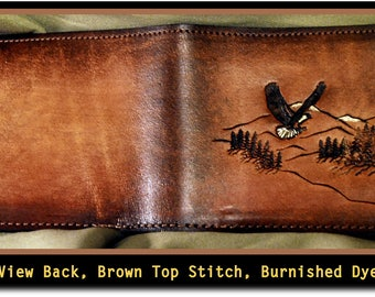 Father's day Personalized Brown Men's Leather Wallet, Hand Stamped Leather Wallet Billfold, Cordovan Brown with the first 3 Initials free!