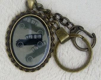 Vintage Car Antique Bronze Oval Key Ring Pendant