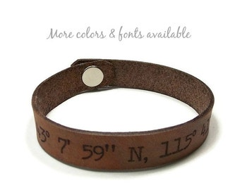 Latitude Longitude Bracelet, Custom Coordinates, Leather Bracelet, Laser Engraved Bracelet, Gifts Under 15