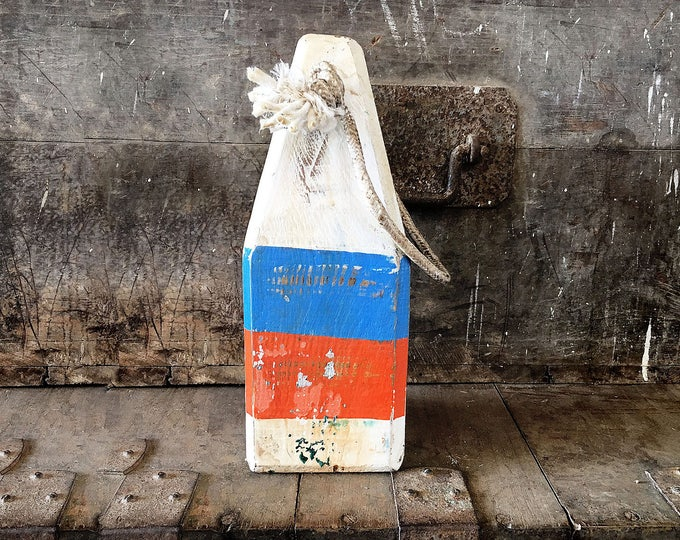 """Beach Decor, 12,5"""" Old-style lobster float buoy, White, Blue, Orange, Nautical by SEASTYLE"""