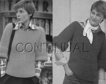 Vintage 1970s Knitted Sweater Pullover, Beginners, Easy,  Knitting PDF Pattern, Knitting Instant Download
