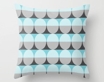 6 colours, Mid Century Modern Pillow, Charcoal Black, Pale Aqua pillow cover, Ellipse Pattern, Indoor or Outdoor cover, Faux Down Insert