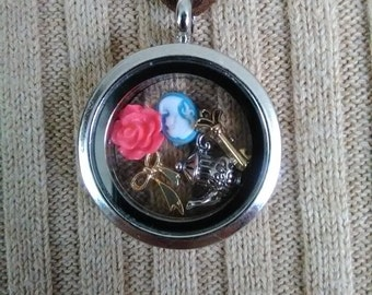 SALE: Charms in glass locket necklace