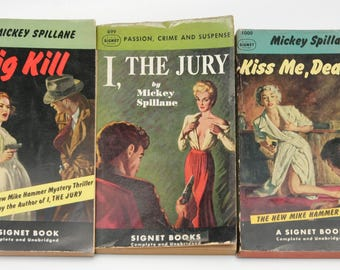 Mystery Thriller Book Set: Mickey Spillane 3 vintage paperbacks Mike Hammer [1949-1953] | GGA Book gift for mystery readers Stacy Keach