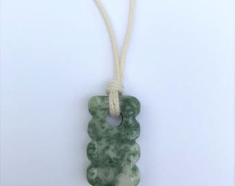 CLEARANCE - Mama Necklace / Nursing Necklace - Moss Agate Gemstone on black Cotton Cord (Adjustable)