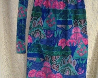 Gorgeous Vintage Tropical Long Skirt - Fabulous Jeweltone Colors, Sexy Slit and wide sash