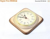 sale 20% off Vintage Wall Clock, Ceramic clock,Flamed cream color,from Germany, Kitchen clock, Unique clock