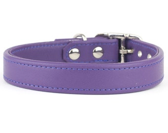 Violet Leather Dog Collar - Handmade in the UK