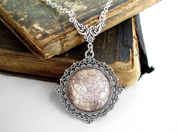 Antique Globe Necklace in Silver - Antique Map Northern Hemisphere - Steampunk - Victorian - Edwardian