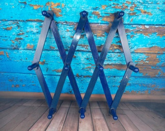 Vintage Wooden Pegs Accordion Wall Hooks, Blue, Wooden Coat Rack, Expandable Wall Rack, Farmhouse Wall Rack, Cottage Coat Rack, Rustic Home