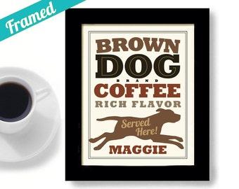 Chocolate Lab Kitchen Decor Coffee Art Labrador Retriever Personalized Dog Art Print Chocolate Labrador Brown Dog Coffee Shop Framed Dog Art