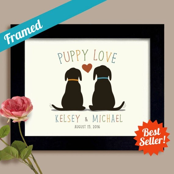 Wedding Gift Ideas For Dog Lovers : Puppy Love Personalized Wedding Gift Dog Lovers Bridal Shower Unique ...