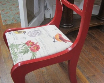 Shabby Farmhouse Vintage Chair Red Rose Back Prairie Chic BOHO Bohemian