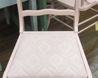 Vintage Hand Painted Prairie Rose Chair Painted Seat Farmhouse Chic Shabby Chic Cottage Prairie