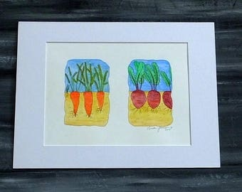 KITCHEN ART - Vegetables Watercolor Painting, Wall Art, Kitchen, Cooking, Chef Art, Orange Carrots and Red Beets Kitchen Wall Home Decor