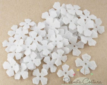 Felt Flower White, 50 pieces, Die Cut Shapes, Applique, Confetti, Party Supply, DIY Wedding