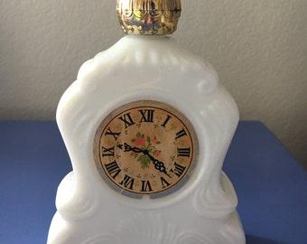 Avon milk glass mantle clock leisure hours