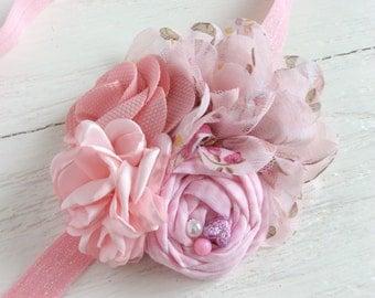 Soft pink baby girl headband toddler headband flower headband matilda jane m2m flower headband newborn headband