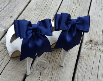 Navy Blue  Shoe Clips, Bridal Shoe Clips, Satin Bow Shoe Clips, Shoes Clips,  Shoe Clips for Wedding Shoes, Bridal Shoes, MANY COLORS