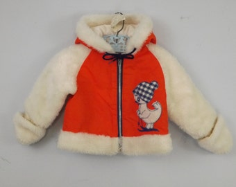 Adorable Faux Fur Trim Child Winter Jacket From KT Kiddies Togs Cute Ski Duckie Size 12 Months