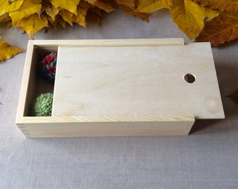 sliding lid box / big wooden box / storage box / wooden case / gift for her / gift for him / for decoupage / box for crayons / organizer box