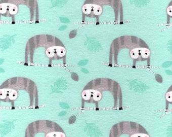 Cotton Flannel Fabric, Happy Sloth - By the Yard - colorful, sloth, animal, teal, light, blue, baby, Pattern, grey, Soft, blanket, cute