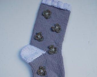 Christmas Stocking handmade Light Grey and White