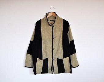 Vintage Oversized Patchwork Corduroy Jacket Beige and Black Colorblock Unisex Coat