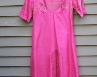 Vintage hot pink tone silk Asian dress fully lined with Silver embroidery ala 1970s