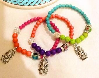 Hindu God Ganesha bracelet , ganesha spiritual healing bracelet , bohemian gypsy ganesha bracelet