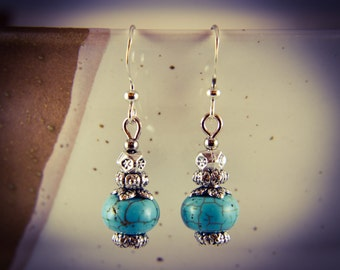 Silver Plated Leaf Turquoise Gemstone Drop Earrings [E9]