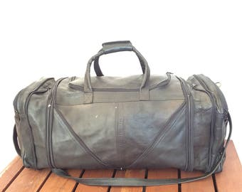Great Vintage Black Leather Duffle Bag Weekend Bag Carry On