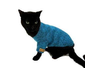 Teal Cat Sweater-Cat Clothes - Cat Clothing - Cat Apparel - Pet Clothes - Shirts for Cats -Cat Shirts - Sweater for Cat - Cat Sweatshirt