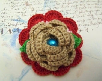 Crochet Flower Hair Clip. Handmade Flower Hair Clip. Flower Hair Accessory.