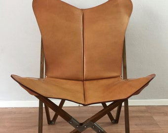 tripolina butterfly chair premium leather and wood folding frame chairs - Wood Frame Chair