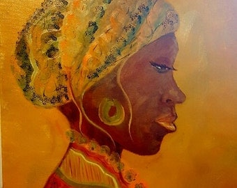Fine Art Print - Woman - African Woman - Oppressed Woman - Orange/Gold - Colorful - Wall Art - Home Decor - African Decor