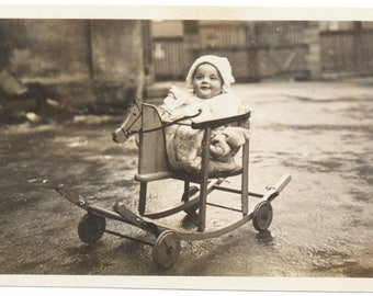 Out for a Ride Baby Horse Rocker Stroller snapshot portrait vernacular photography found photo social realism