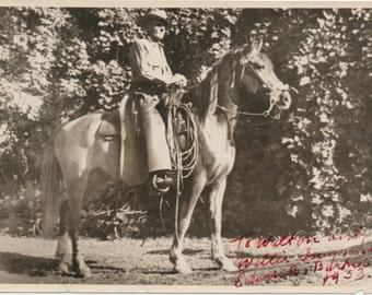horse SIX GUN Rattlesnake Ed Barker Cowboy Hat Rancher Morgan Horses silver gelatin snapshot photograph