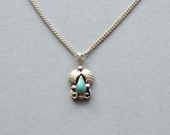 Vintage turquoise pendant, silver pendant, Southwestern pendant necklace, handmade pendant, tiny pendant, on a sterling silver cable chain.