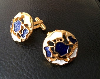 Vintage Christian Dior Cuff Links - 1960s - Floral Design with Blue amd White Enamel