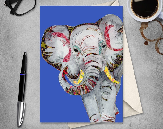 Elephant - Elephant Art - Elephant Tusks - Love - Greetings Card - Blank Card